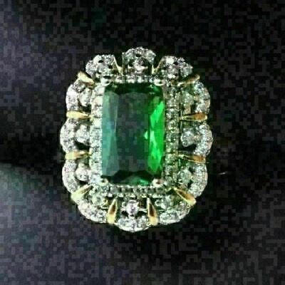 Gorgeous Baguette Green Emerald Ring Women Wedding Engagement Jewelry Gift