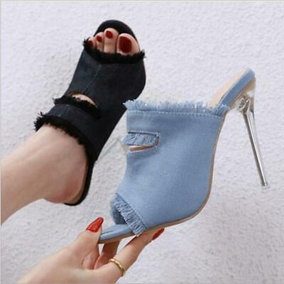 Women Ladies Peep Toe Denim Stiletto Mules High Heels Sandals Slip On Shoes Size