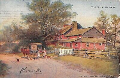 1907 Postcard of Horse-Drawn Cart in Front of Farm House - The Old Homestead