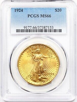1924 PCGS MS-66 Double Eagle, $20 Gold St Gaudens ** Premium Quality, Gorgeous!