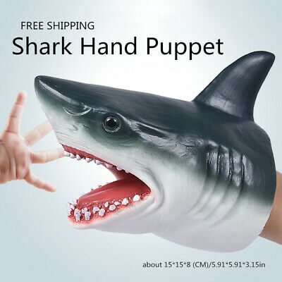 SHARK HAND PUPPET Soft Stretchy Rubber Jaws Baby Shark Stretchy Great Grey New