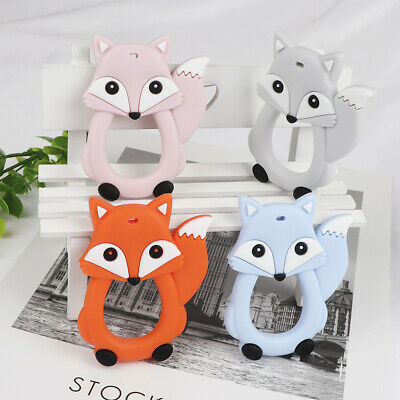 Cartoon Fox Infant Baby Teether Silicone Pacifier Soother Teething  Pendant