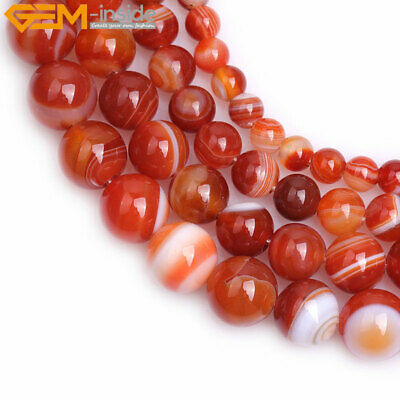 "Natural Round Red Carnelian Color Banded Agate Beads For Jewelry Making 15"" DIY"