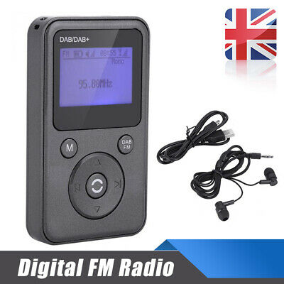 Portable Pocket Personal DAB/DAB+/FM Digital Radio Rechargeable Battery Black
