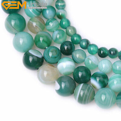 "Natural Round Green Banded Agate Beads For Jewelry Making 15"" DIY 2mm BIg Hole"