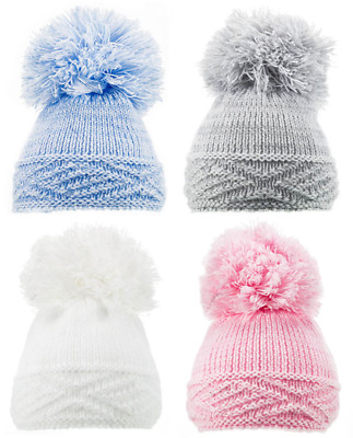 Baby POM POM HAT knitted winter bobble nb-12 months