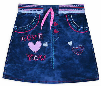 Girls Skirt 100% Cotton Kids New Summer Denim Blue Outfit Ages 1 2 3 4 5 Years