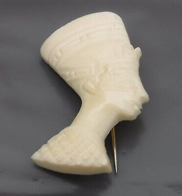 Spectacular Vintage Hand Carved Bone Brooch of an Ancient Egyptian - Superb