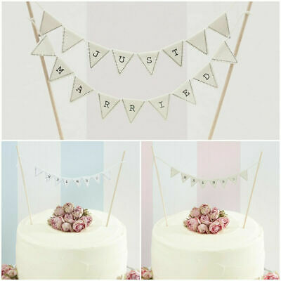 White Just Married Rustic Toppers Mr /& Mrs Cake Bunting Ivory