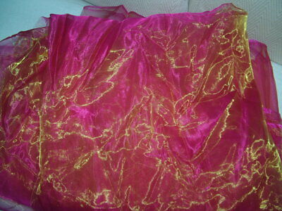Pink Cerise Lime Organza two tone sheer floaty New 60 x 41/2 yards
