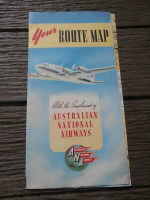C 1950  ANA Australian National Airways route map aircraft airline Melbourne