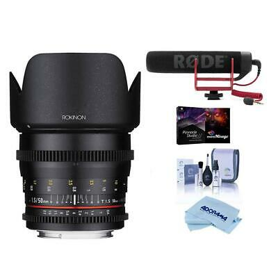 Rokinon 50mm T1.5 Cine DS Lens for Nikon Mount W/Rode Mic And More #DS50M-N E