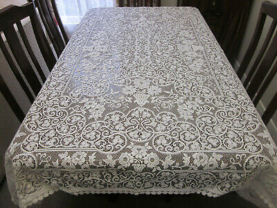 Gorgeous Vintage Machine Lace Tablecloth With 10 Napkins Or Placemats