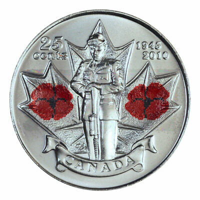 🇨🇦Canada quarter 25 cents coin Remembrance Day Poppy World War II Colored 2010