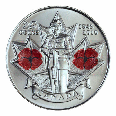 Canada quarter 25 cents coin, Remembrance Day, Poppy World War II, Colored, 2010