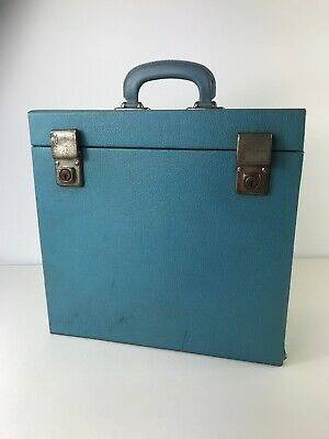 Retro Blue Wooden Record LP 12 Inch Carrier Handled Storage Box 1950s 1960s