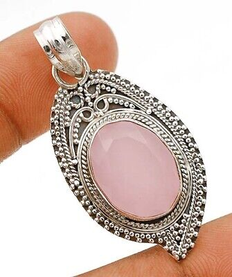 SALE Faceted Rose Quartz 925 Solid Sterling Silver Pendant Jewelry, C29-9