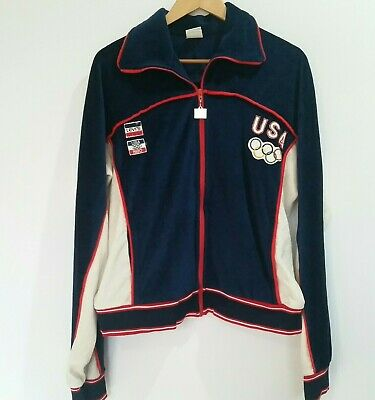 Vintage Levi's 1980 Moscow Olympics USA velour zip up tracksuit top size XL