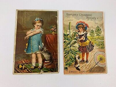 Pair of Antique Trade Cards From Southern Remedy & Jayne's Tonic Vermifuge