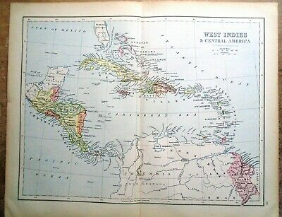 Antique MAP ~ WEST INDIES & CENTRAL AMERICA ~ 1885