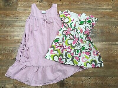 Two Girls Next Pink Green Lilac Tunic Tops Summer Cotton Print Age 10-11 Years