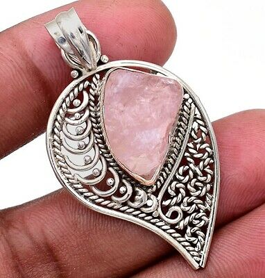 Filigree Rough Rose Quartz 925 Solid Sterling Silver Pendant Jewelry H8-6