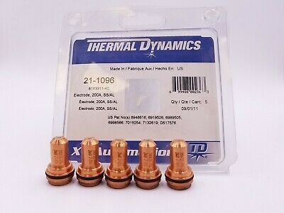5 Pcs Thermal Dynamics 21-1096 Electrode H35 Plasma Torch Cutter N2 Welding NOS