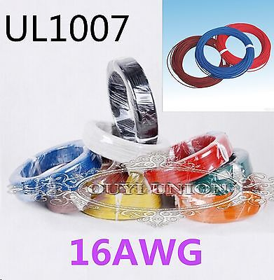 UL1007 16AWG 2.4MM Cable Cord Stranded Flexible Hookup Electric Wire Strip 20M