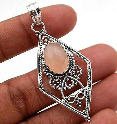 Elegant GemFaceted Rose Quartz 925 Solid Sterling Silver Pendant Jewelry, H8-8