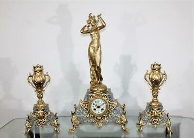 NO RESERVE FINE ORIGINAL FRENCH FIGURED CLOCK GARNITURE Par Ferrand Circa 1880