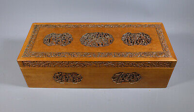 Fine Antique 19Th C. Chinese Canton Carved Sandalwood Wooden Box Casket Glovebox