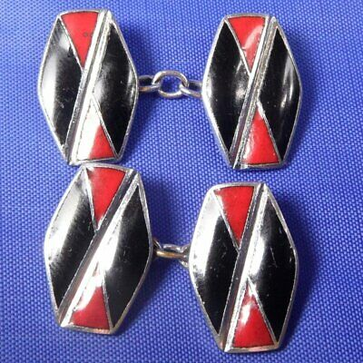Stunning Antique Art Deco Red & Black Enamel Cufflinks