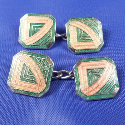 Stunning Antique Art Deco Green & Peach Cufflinks