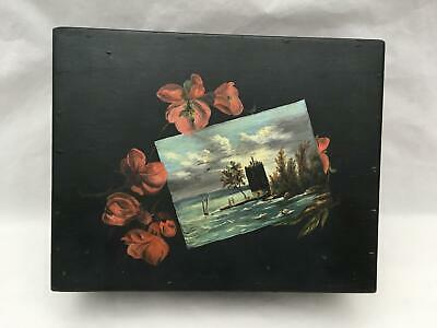 Antique Handpainted Wood Box Lighthouse? Scene Lined in Satin w Trinket Box MORE