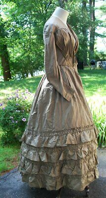 1840 Goose Turd Green Silk Dress Ruffles Padded Bust Possible Wedding Gown