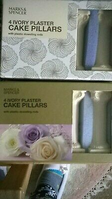 NEW, 2 x BOXED,M&S 4 X IVORY PLASTER CAKE PILLARS.(with plastic dowelling rods)