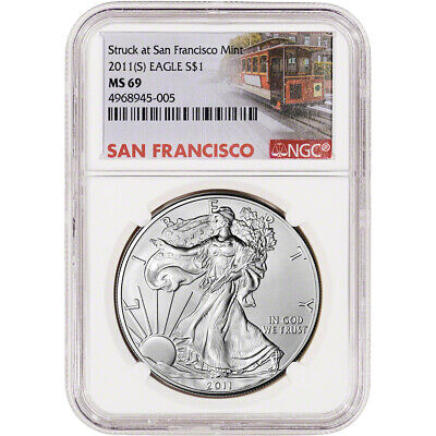 2011-(S) American Silver Eagle - NGC MS69 - San Francisco Trolley Label
