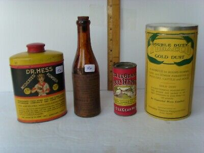4 Antique Farm/Veterinary Medicines: 3 Tins & a Bottle early 1900's 55/50