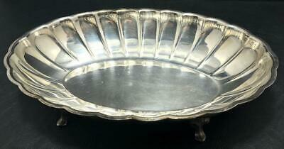 WM A ROGERS Vintage Silver Silverplate Footed Scalloped Serving Bowl Dish Oval
