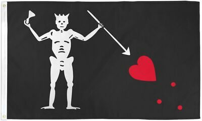 Edward Teach Blackbeard Skeleton Pirate Polyester 3x5 Foot  Flag Outdoor Banner