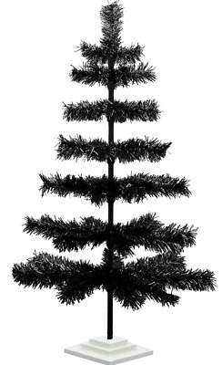 36'' Black Christmas Tree Tinsel Feather Style Holiday Tree 3FT Table-Top