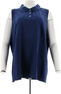 Kathleen Kirkwood Polo Collar Layering Cami Royal Navy M NEW A294585