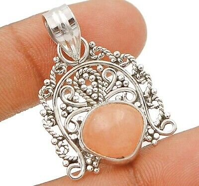 Filigree- Rose Quartz 925 Solid Sterling Silver Pendant Jewelry, C29-7