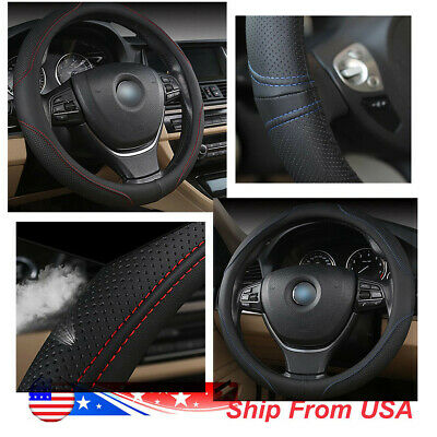 38cm/15'' PU Leather Car Steering Wheel Cover All Weather Protect Black Red/Blue