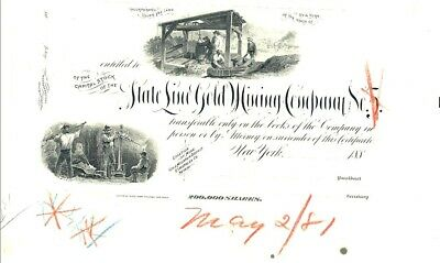 STATE LINE GOLD MINING CO.  Nevada - Proof Stock 1881 - No. 1