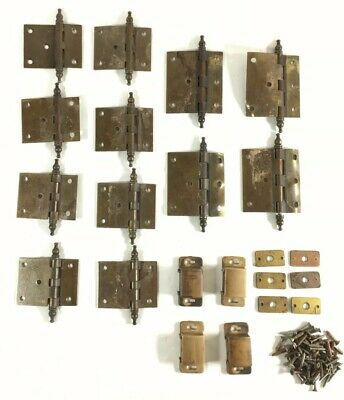 Lot of Vintage Bronze Antique Brass Cabinet Door Hinges Hardware by NL Co.