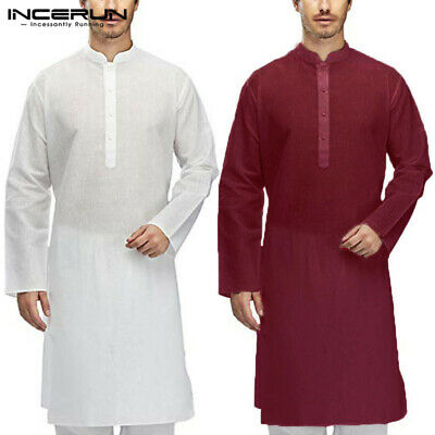 Indian Clothes Mens Kurta Dress Abaya Muslim Saudi Tunic Retro Kaftan Long Robe