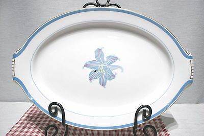 "RARE! Narumi China OCCUPIED Japan RHAPSODY Blue Lily 17 1/2"" Large Platter Mint!"