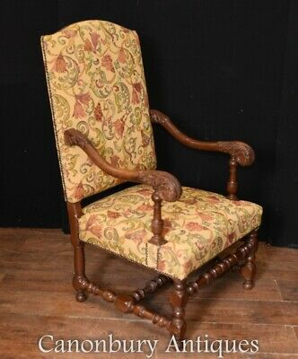 Pair French Antique Chairs - Hand Carved Walnut Farmhouse