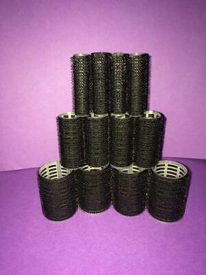 12 x MIXED SIZE BLACK CLING HAIR ROLLERS